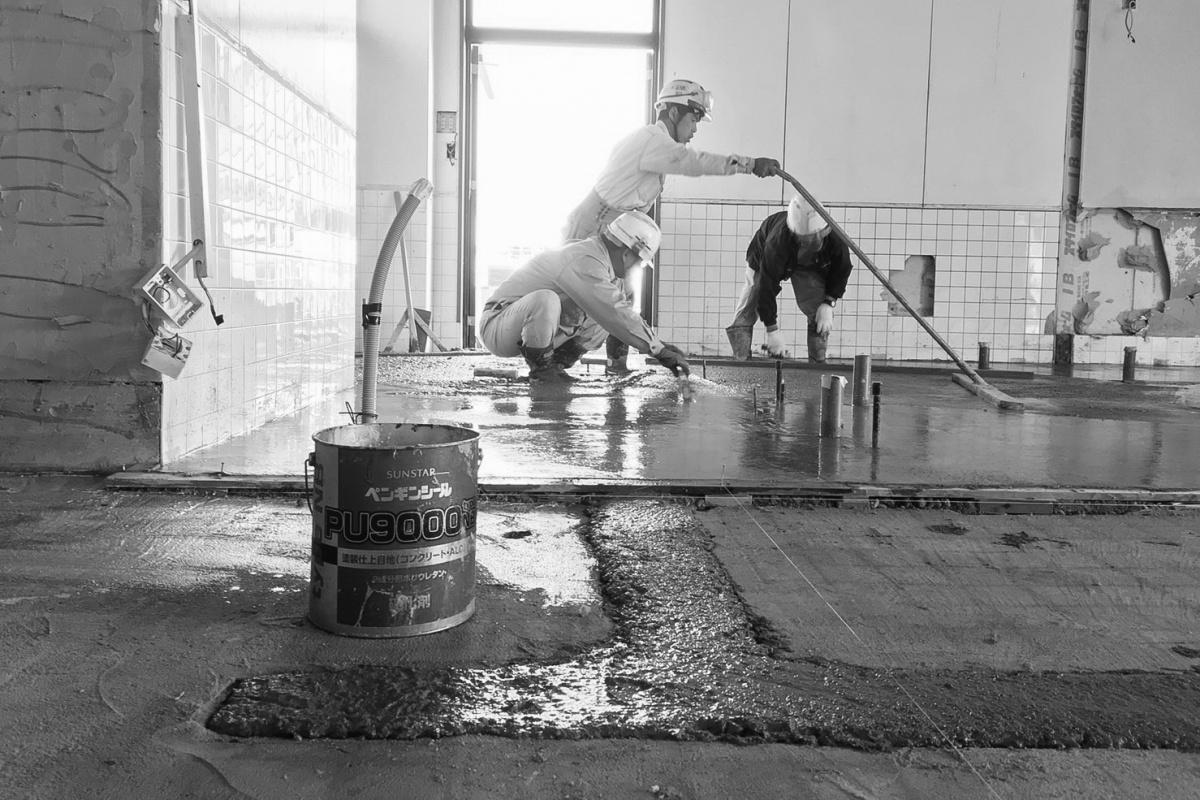 床が出来なきゃ何も始まらない(笑)湯田温泉の現場はチャキチャキ進行中!