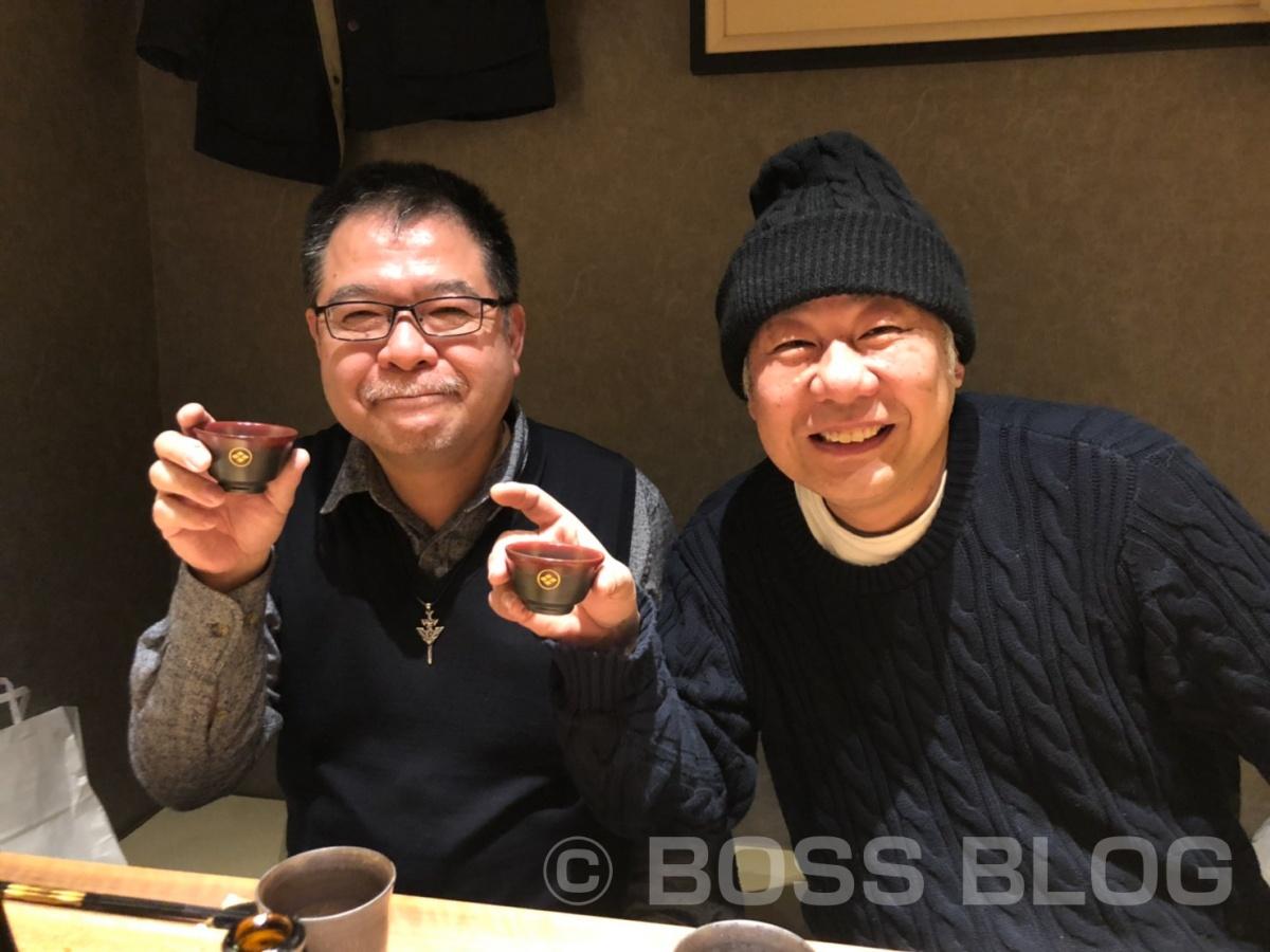 ヤスベェさんに萩焼作家 大和さん、サンドブラスト作家 小山さんと私の四人が初めて揃った食事会を開催して頂きました